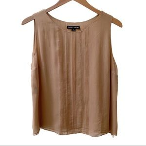 Albert Nippon Layered Silk Chiffon Tank Tan 10